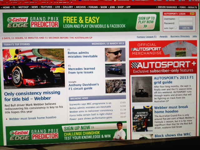 This is what the Autosport website looks like when they are not punking-out.  Lol.