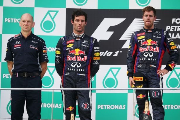 You just gotta love the expression for P1 and P2 on Vettel's and Webber's and faces. Priceless. There is no love on this podium today.