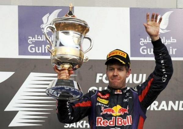 Sebastian Vettel wins the Bahrain GP. What a way to come back after the misery of China. Well done.