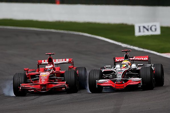 Who can forget these two in the closing laps of the Belguim GP with resulted with Kimi in the wall and a penalty hear round the world for Lewis.
