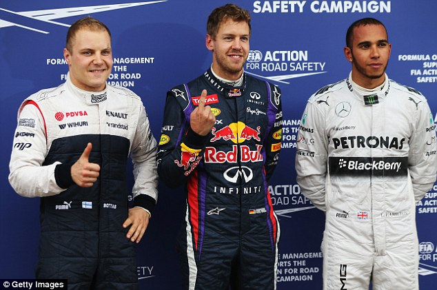 Sebastian Vettel - Happy with P1, Hamilton - Not so happy with P2, Valtteri Bottos - Very very happy with P3. photo:newstimes