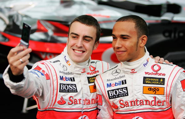 The new champion Fernando Alonso at McLaren. The new kid Lewis Hamilton at Mclaren. It would be the only time these two are smiling.