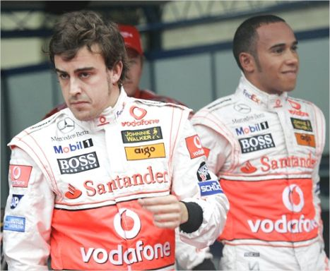 If pictures could talk, this one would be censored, Alonso face says it all.