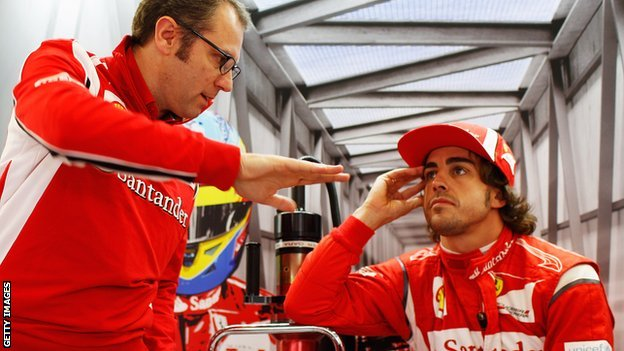 Stefano Domenicali consoling Alonso. One can only imagine what the team principal is saying to re-assure his driver...