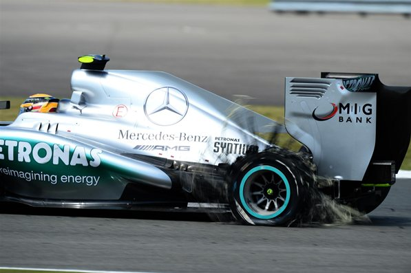 Lewis Hamilton was on track to take a win at his home GP, the second until he fell victim of the Pirelli tire., there would be more.