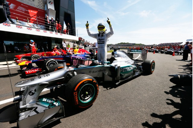 Nico Rosberg take the win in a dramatic British GP. Nice Job.