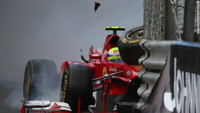 Here is Massa finding the armco this year in Monaco. it would not be the last time that weekend. I'm sure Ferrari was not impressed.