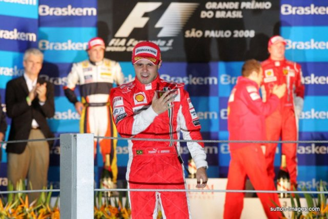 A very emotional Massa. Brazil 2008 - He was World Champion for all of 38.9 seconds then the dream was all over.