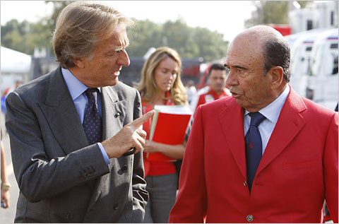 if you don't recognize the guy in the red you should know he is the one that is really paying Alonso's 30 mill retainer. Who is he? Emilio Botín head of Banco Stantander - he also wants what the others have, a faster car...
