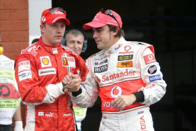 2007 - Moving on, Kimi jumps ship to Ferrari having burned out at McLaren and Alonso wisely moved to McLaren after his second championship campaign with Renault. It was the correct choice for both of them, Kimi won the Championship and Fernando won more races.