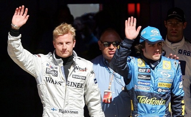 2005 - Here is Kimi and Fernando after each made it to a top team. They seem at ease with each other wouldn't you say? Both were going for the Championship this year, which Fernando eventually won (his first). That year the McLaren was quicker but the Renault was more reliable which proved the difference.