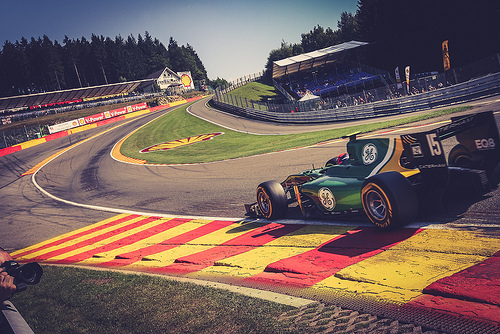 Rossi on his way up the hill in Belgium. Spa-Framncorchamp is a favorite of all drivers due to the challenge. Rossi is not different and was up to to it this year finishing on the podium in Race 1.