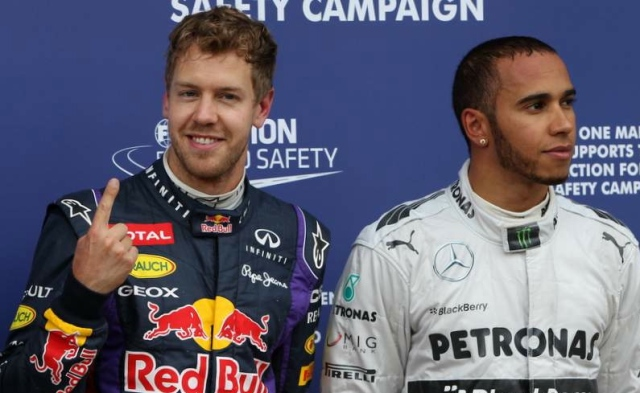 Lewis Hamilton with Sebastian Vettel. After Lewis's grand entrance into F1 and a championship in year two, I'm sure he thought many more were on there way. Oopsy...