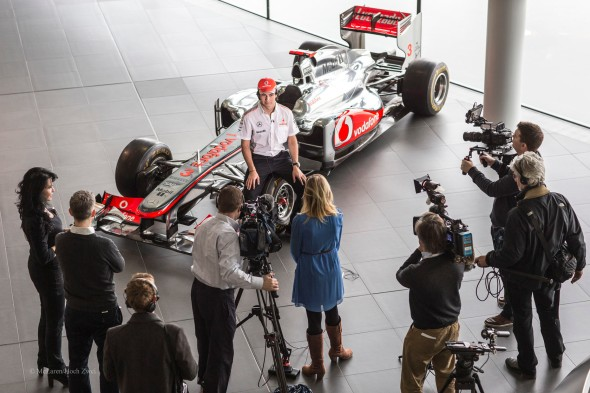Sergio Perez, the Media and the McLaren's MP4-28 at the beginning of the season.  What more could a young driver ask for?  A faster car...
