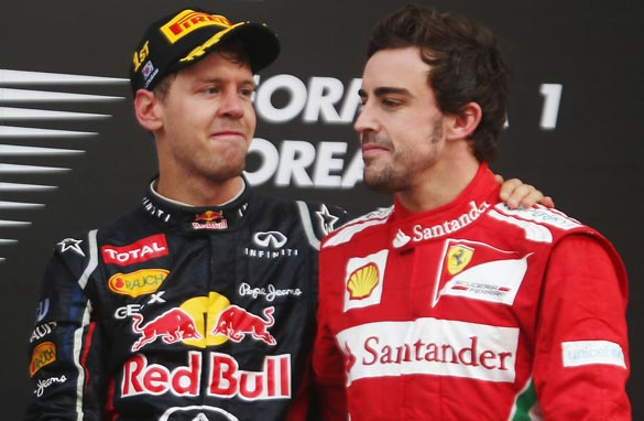 Fernando Alonso with Sebastian Vettel - One is considered the most complete i.e best driver, one has four championships. Which one would like to be?