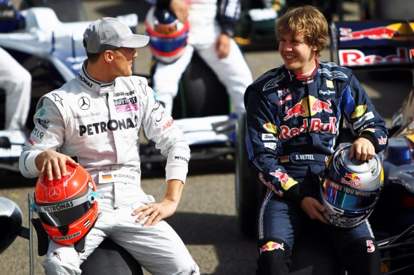 Michael Schumacher and Sebastian Vettel. There was a time when i was certain Michael's records at least two of them were safe forever. Now Im not so sure. I wonder what the retired driver things or the real possibility of his 7 WDC's matched and passed?