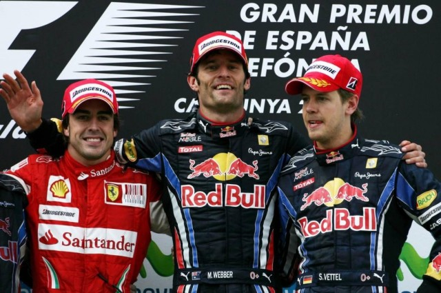 The Spanish GP podium  back in 2010. Looks very familiar wouldn't you say? We all become very use to seeing these guys drink champagne over the last four years.