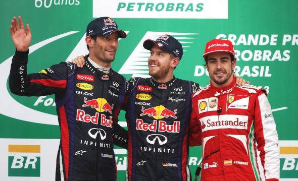 Sebastian Vettel, Mark Webber, and Fernando Alonso after the conclusion of the Brazilian GP and the end of the 2013 season. This trio has shared the podium many times over the last four years.
