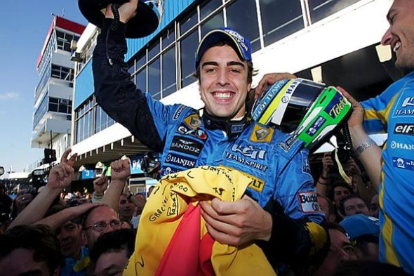 2006 Fernando is crowned World Champion for a second time at the season ending race in Brazil. His smile says it all...