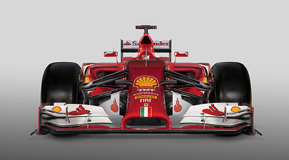 The F14-T.  I miss the high nose of the last several years. Is was just so elegant. But in the interest of driver safety that is a thing of the past. Ferrari's solution is a good one.